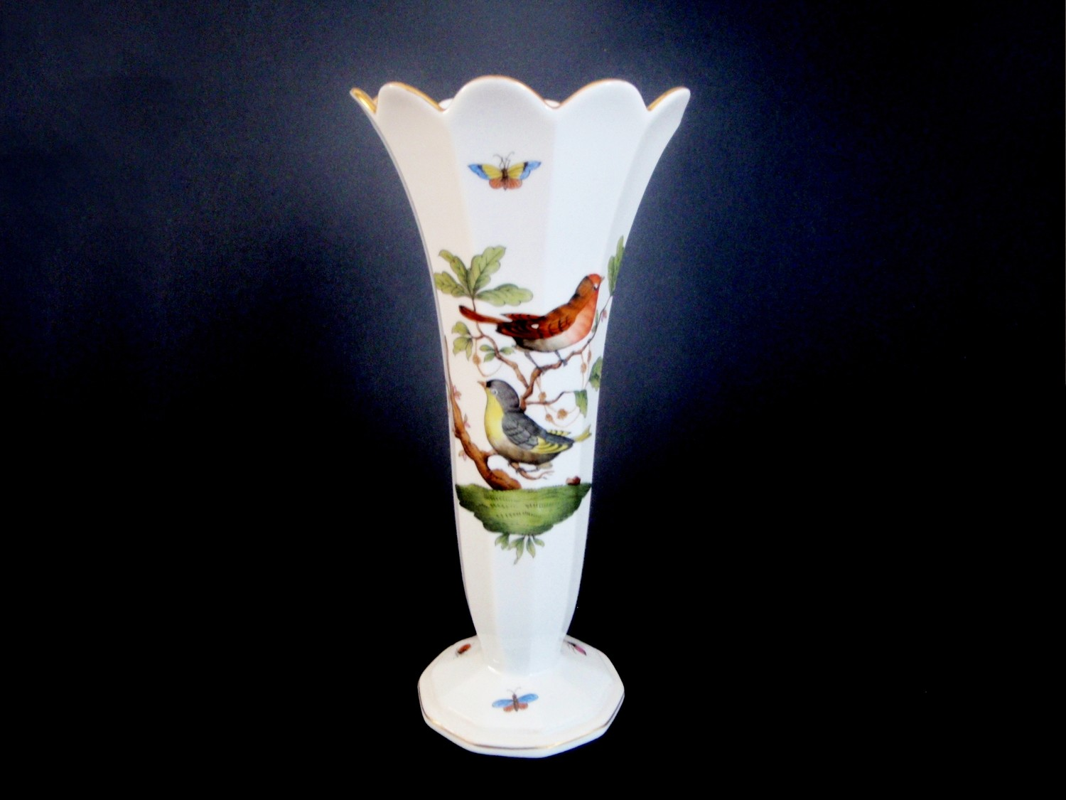 Herend Rothschild Bird Trumpet Vase Hand Painted Hungarian Porcelain Curio