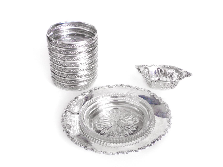 10 pcs Birks Sterling 8 Coasters Open Nut Dish Cut Crystal