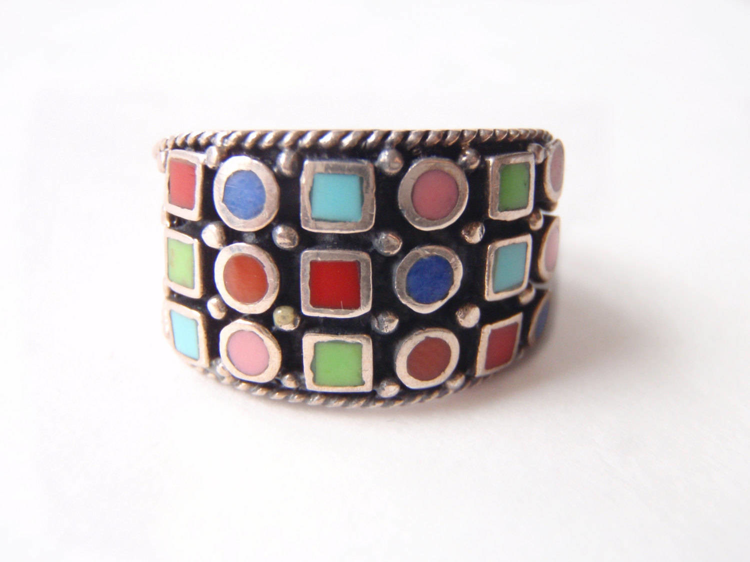 1960 Silver Enamel Wide Band Multi Color Enamel Boxes Circles Ring
