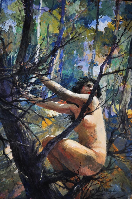 Art Deco Andre Laigneau Nude Woman Watercolor Painting