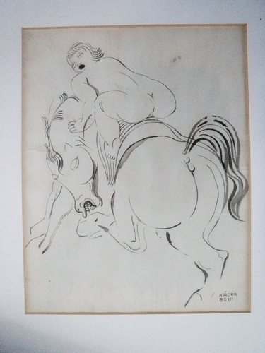 RARE Bela Kadar Signed Erotic Nude on Horse India Ink Drawing