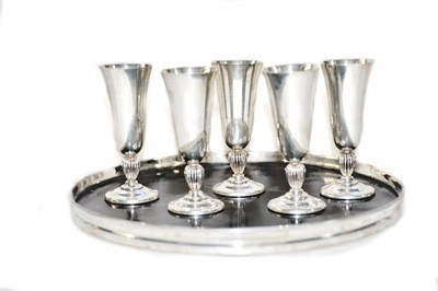 Reed & Barton Deco Silver Cordial Aperitif Cocktail Set Tray and Glasses