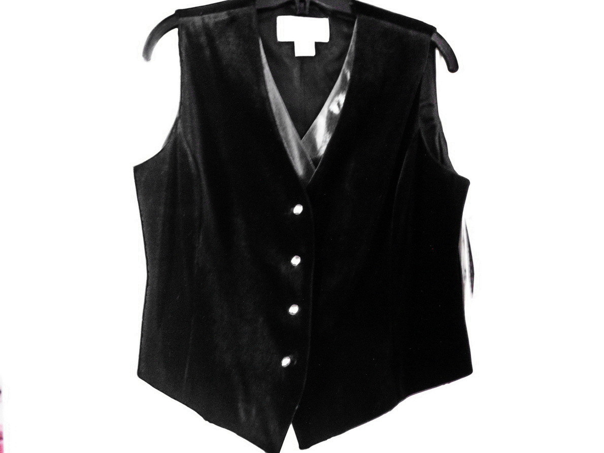 Peter Nygard Women's Black Velvet and Silver Organza Vest