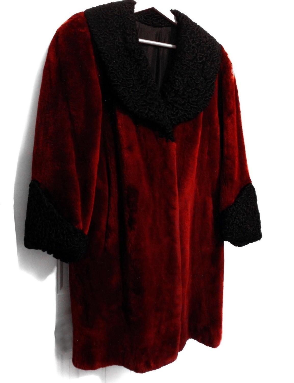 1940s Red Sheared Beaver Persian Curly Lamb Fur Coat