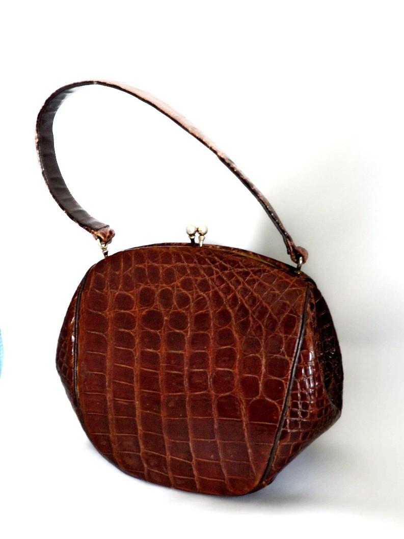 Art Deco 1930's Sg'd Melbourne Bag Alligator Handbag Purse