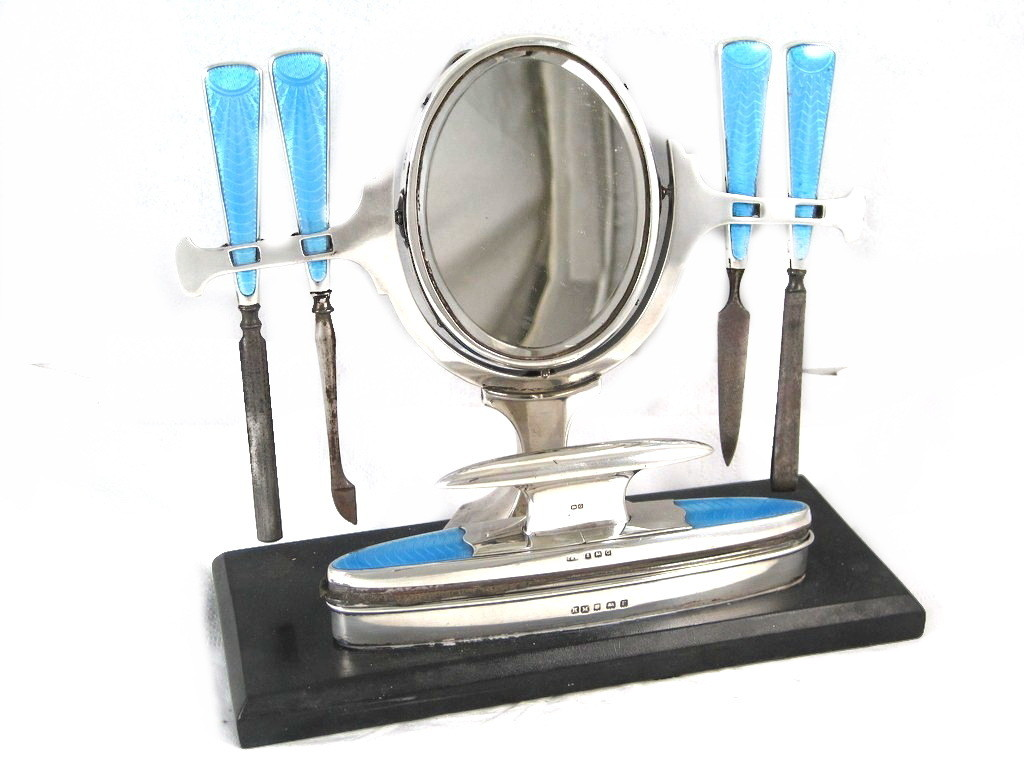 Art Deco British Silver Blue Guilloche Enamel Vanity Mirror Manicure Set