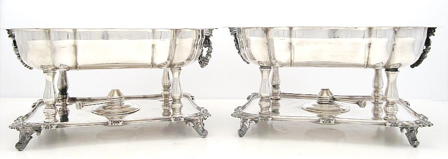 Silver Plated Pair Large Heated Open Buffet Chaffing Dish Servers