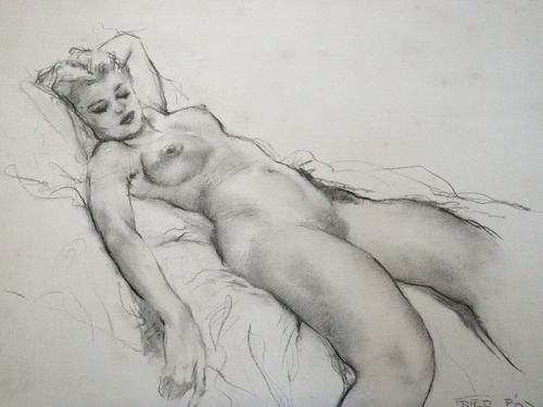 Rare Pal Fried Listed Hungarian Painter Nude Reclining Graphite Drawing