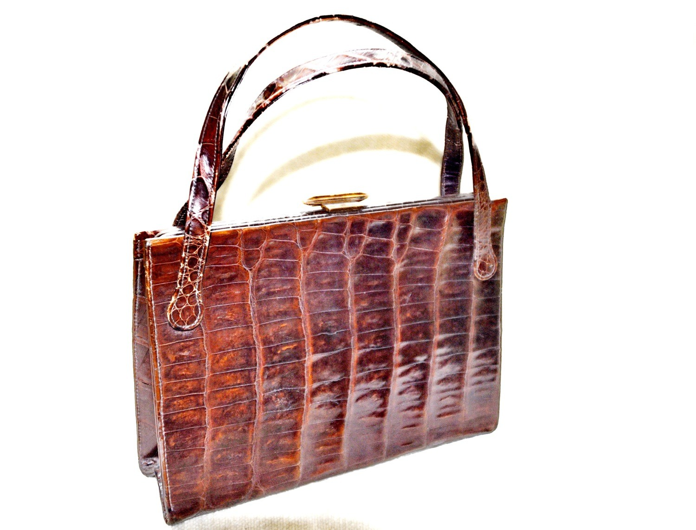 Signed Mayer New York 40's 50's Crocodile Handbag Purse
