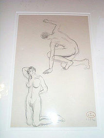 Sg'd Georges de Sonneville 1935 Nude Women Drawing