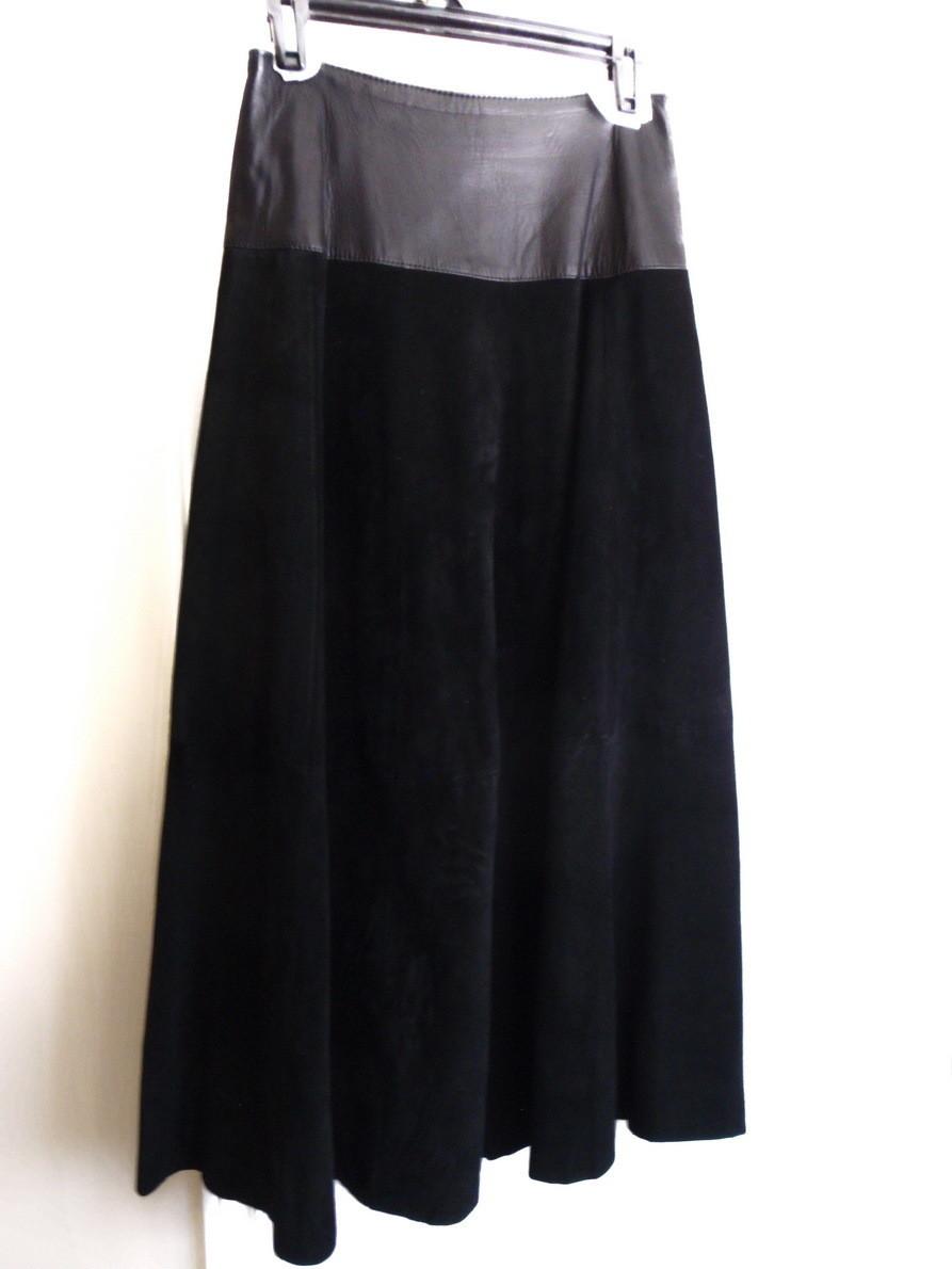 Danier Full Length Black Suede Leather Skirt 100 Inch Swing