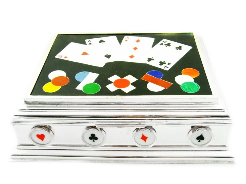 RARE Dunhill Silver Pietra Dura Games Box for Cards Gambler Card Player