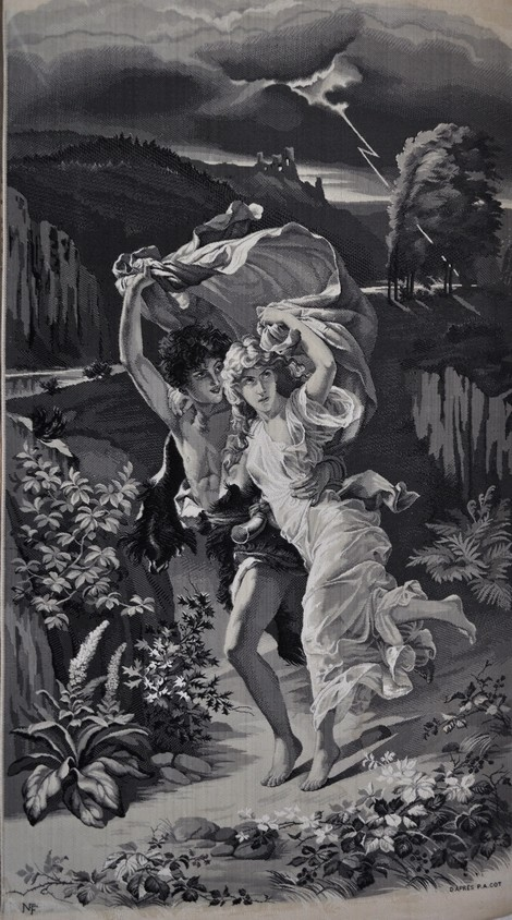Belle Epoque Neyret Freres Silk Textile 'The Storm' Lovers in the Rain