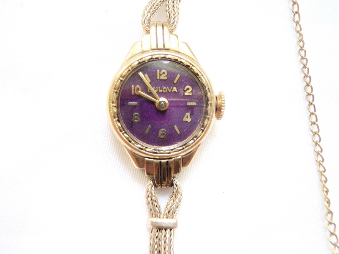 1940s Ladies Fancy Bulova Watch Gold Rope Band