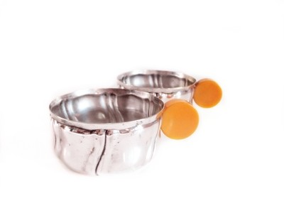 6 Butterscotch Bakelite Silver Punch, Nuts, Candy, Bonbon Cups