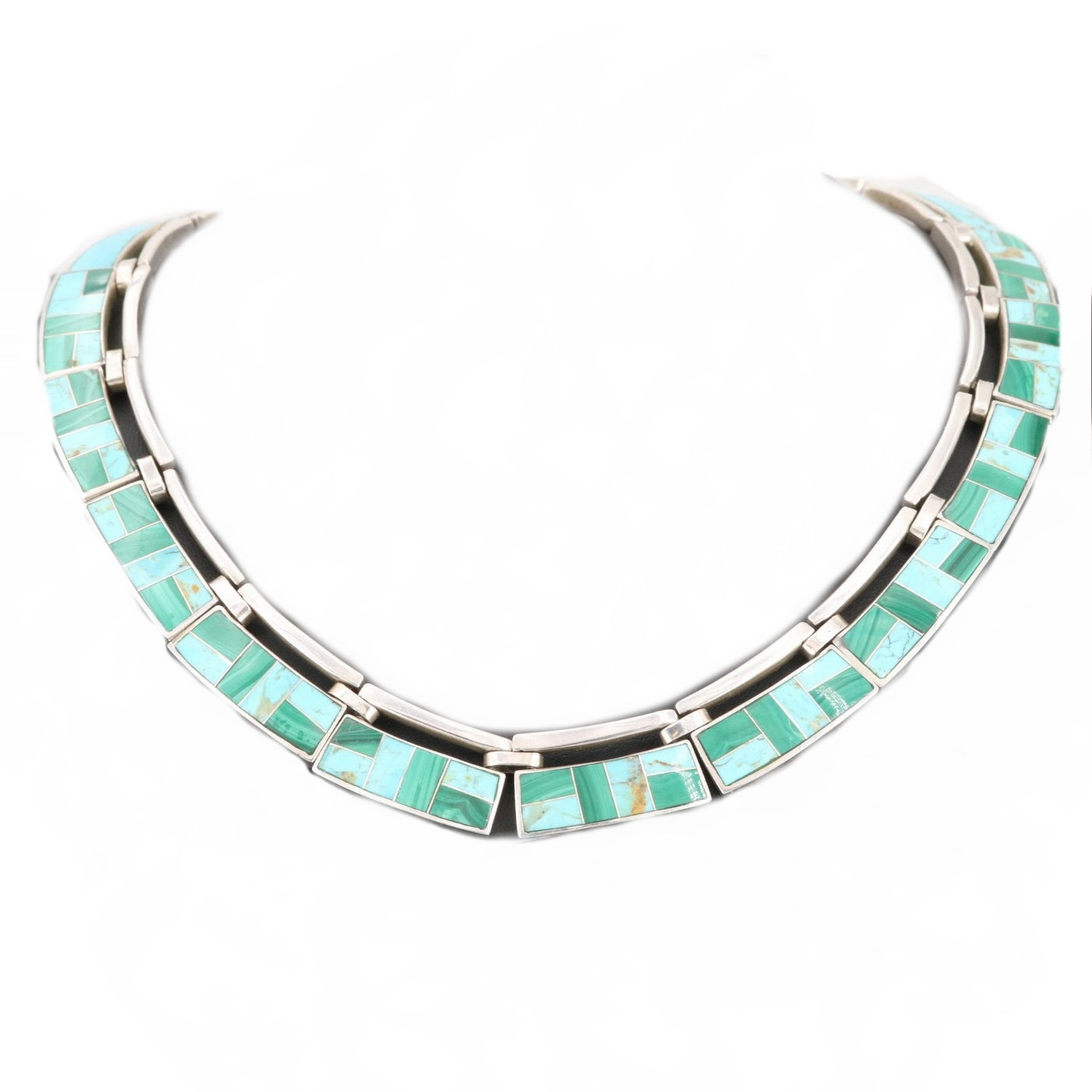 Taxco Turquoise and Malacite Cleopatra Necklace