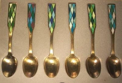 6 Georg Jensen Silver Harlequin Guilloche Demitasse Spoons