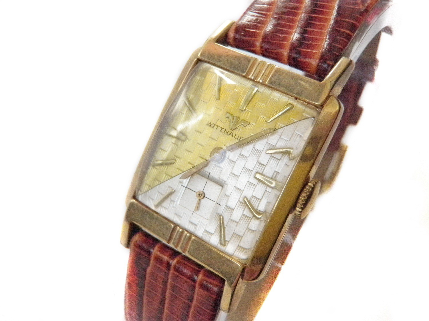 1960's Longines Wittnauer Watch Two Tone Textured Dial