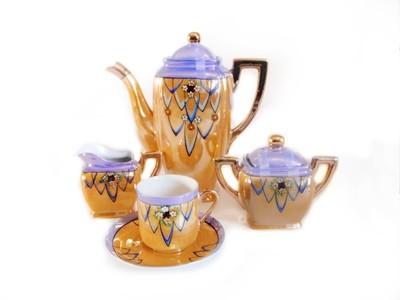 Art Deco Lusterware 16pc Espresso Coffee Set Hand Painted Porcelain