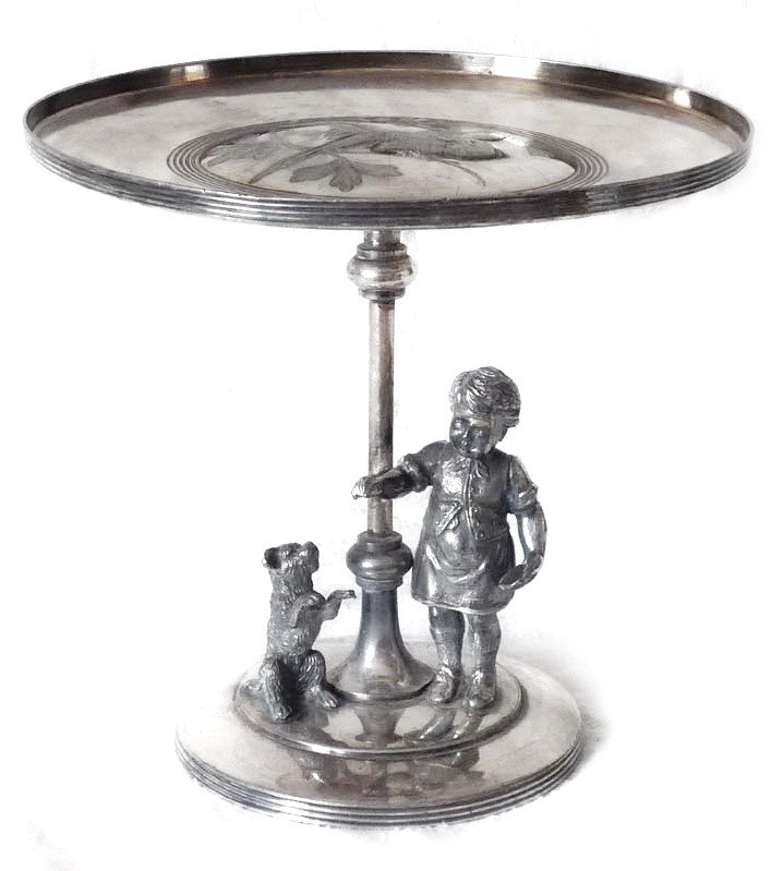Art Nouveau Meriden Quadruple Silver Plate Figural Kate Greenway Boy and Dog