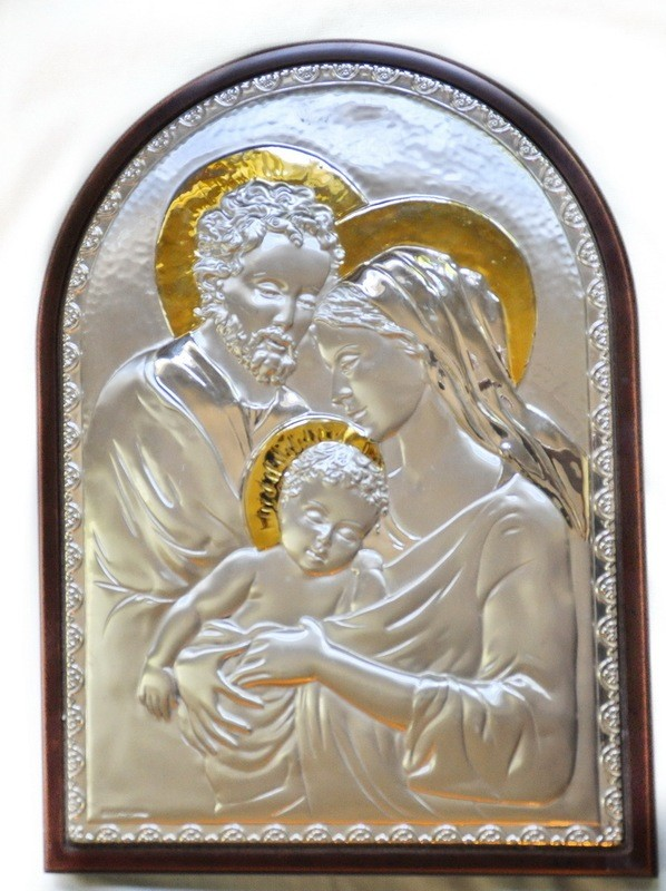 Vintage Sterling 14kt Gold Religious Collectible Holy Family Wall Plaque