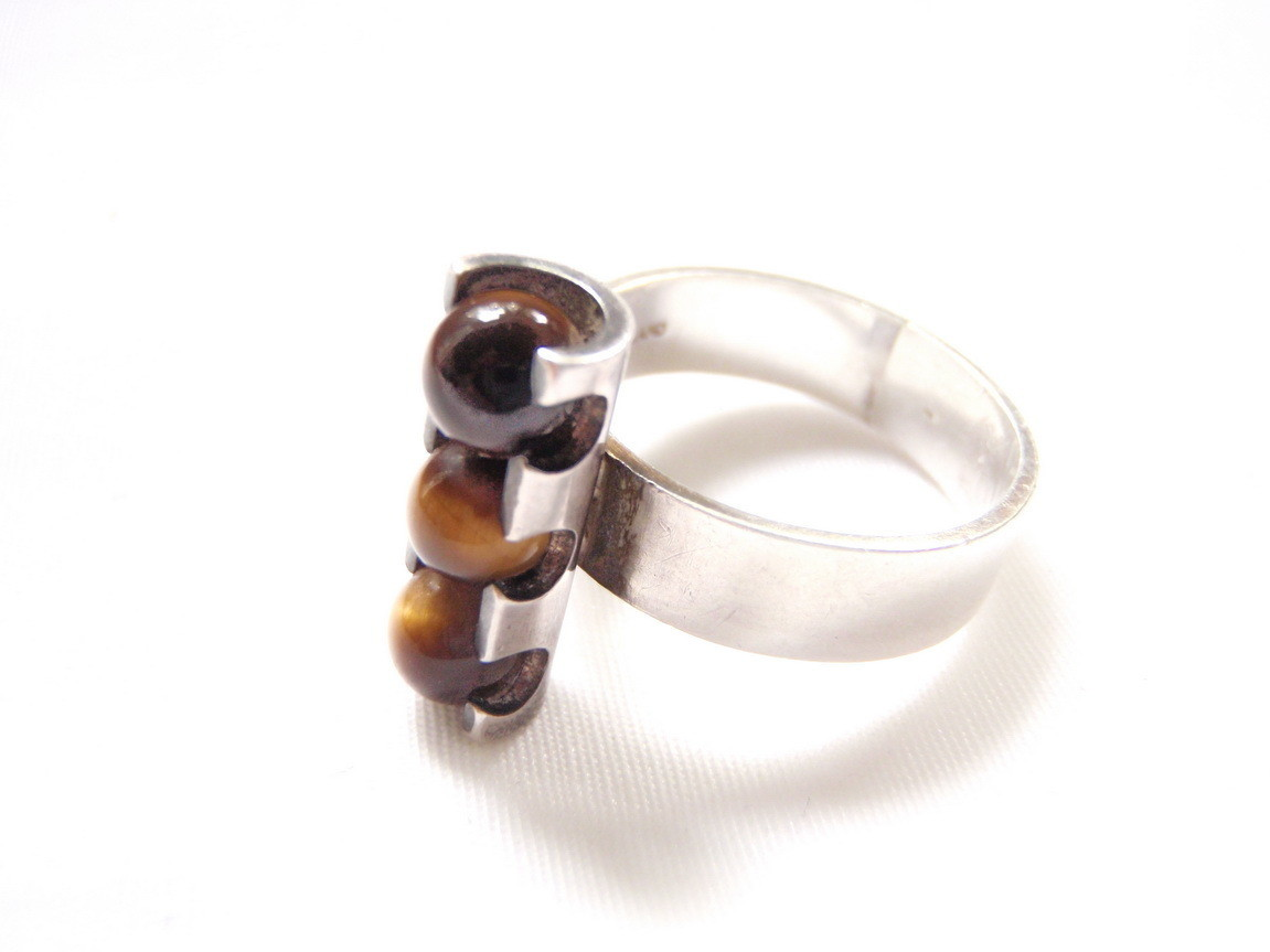 Mid Century Elis Kauppi Tigers Eye Silver Ring Finland