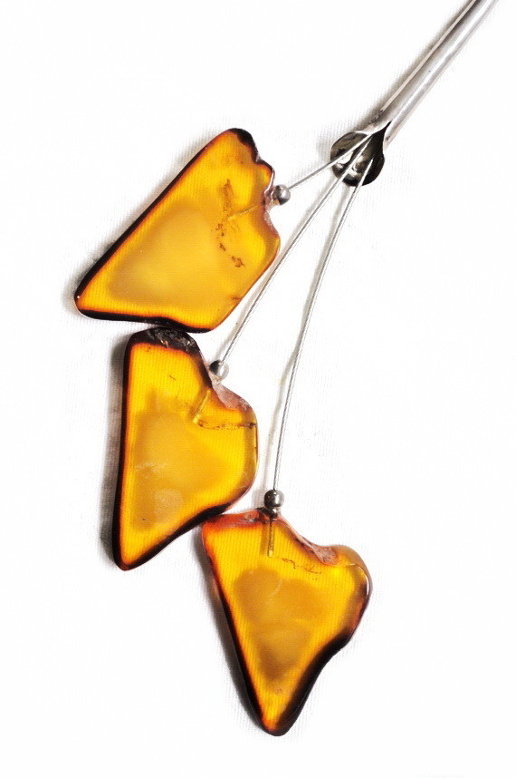 Artisan Three Baltic Amber Leaves Silver Necklace Shepherd Hook