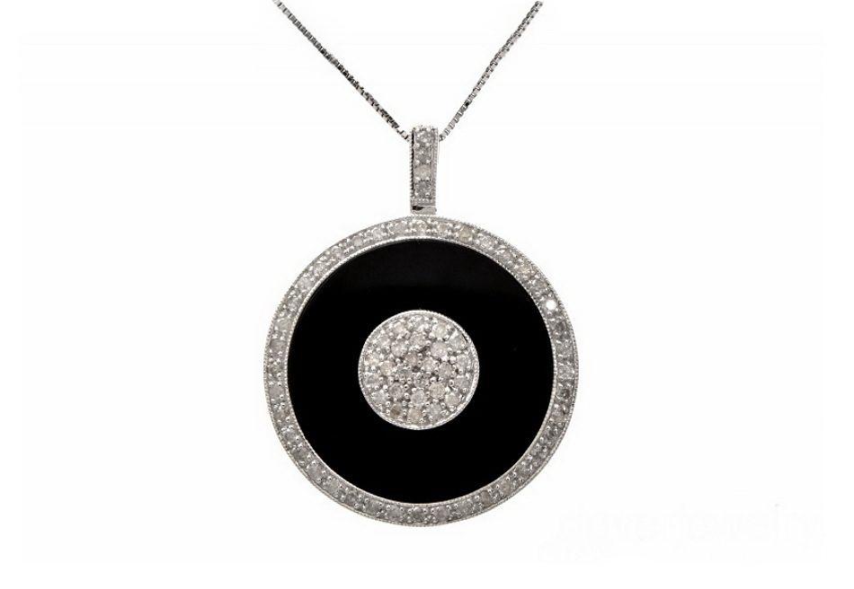 Onyx Diamond 21k Gold Diamond Necklace Pendant
