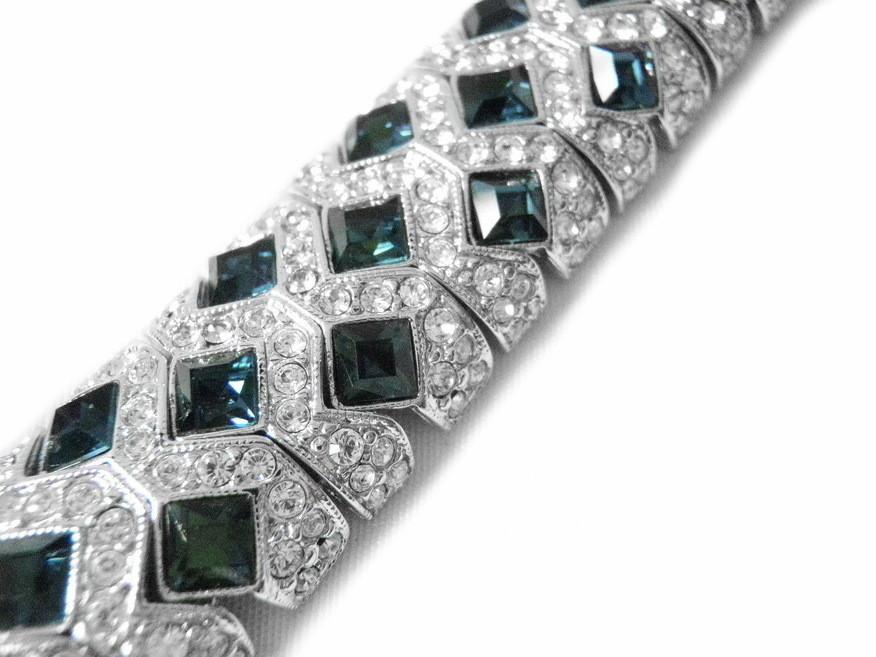 Vintage Swarovski Crystal Bracelet Blue Clear Crystals