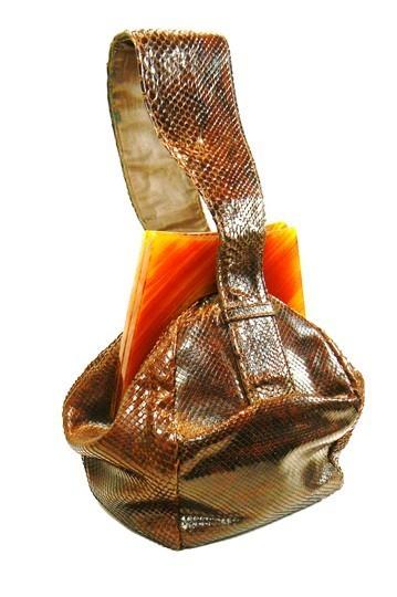 Art Deco Era Brown Snake Skin Lucite Purse Handbag
