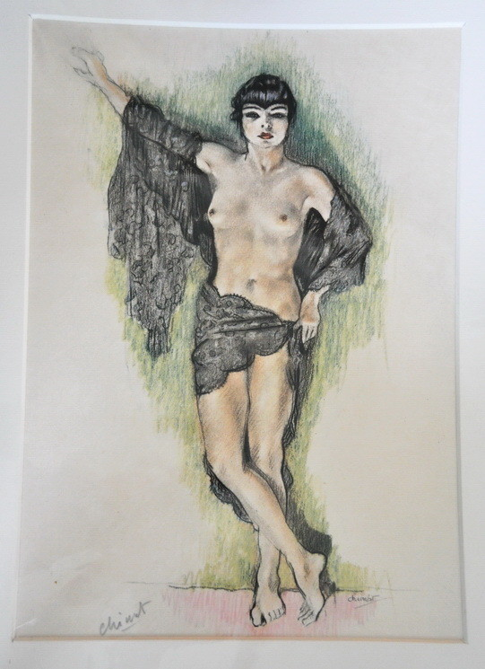 Art Deco Edouard Chimot Nude Woman Signed Lithograph