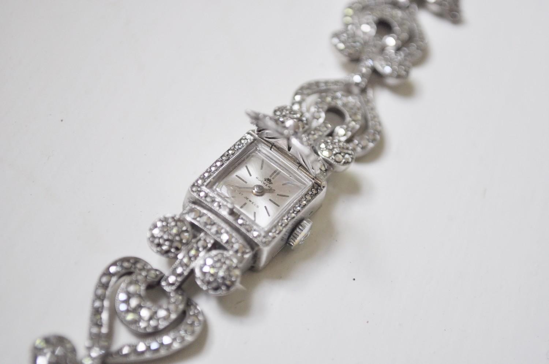 Bucherer Sterling Silver Marcasite Peekaboo Ladies Watch