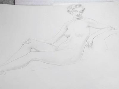Art Deco Arthur Royce Bradbury Nude Reclining Female Drawing No 2