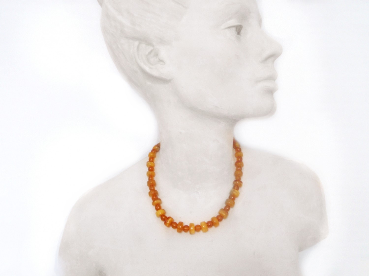 Art Deco Baltic Egg Yolk Amber Bead 18 Inch Necklace