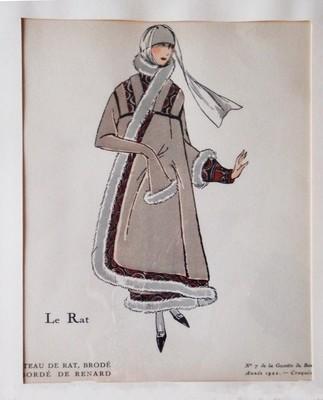 Art Deco 1922 Gazette du Bon Ton Pochoir Borde de Renard Coat