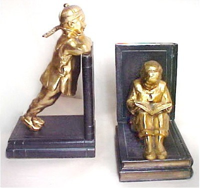 Art Deco Ronson Asian Chinese Children Student Gilt Bookends