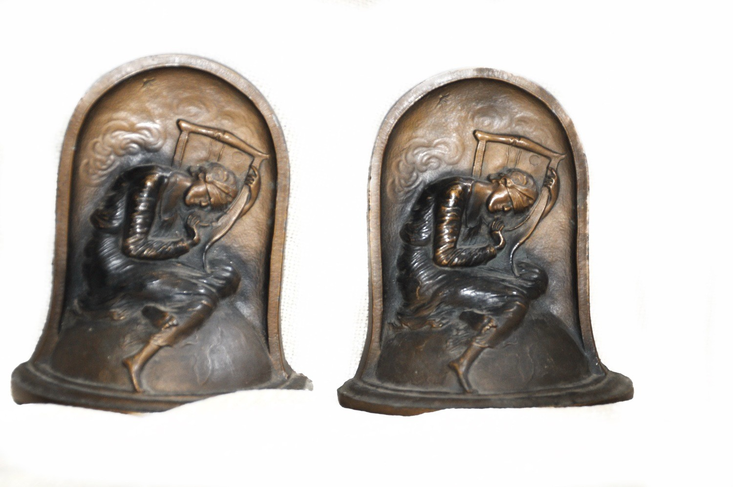 Art deco Polychrome Bronze George Frederick Watts Hope Bookends