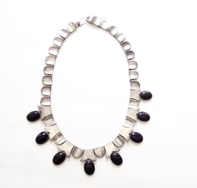Taxco Mexico Sterling Thumbnail Onyx Obsidian Necklace