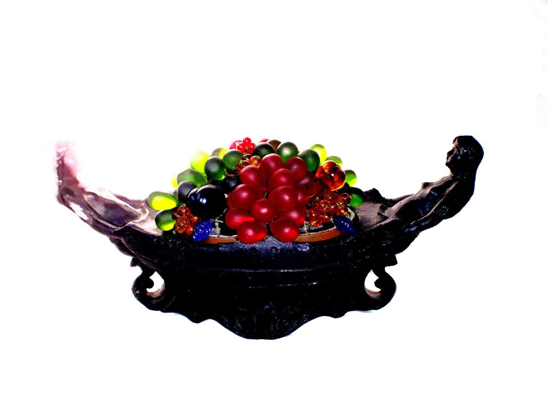 Art Nouveau Two Nudes Table Basket Lamp Czech Fruit Glass Shade