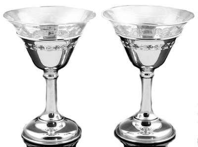 6 Art Deco Birks Silver Etched Crystal Champagne Coupe Glasses