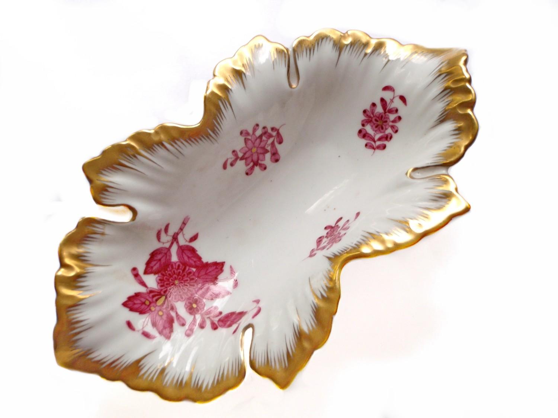 Vintage Hungarian Herend Porcelain Floral Gilt Dish Trinket Tray