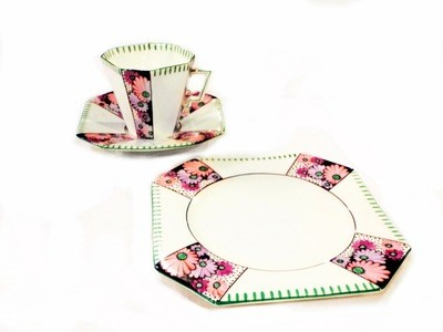 Art Deco 3pc Hand Painted Tennis Set Cup, Saucer, Sandwich Windsor China
