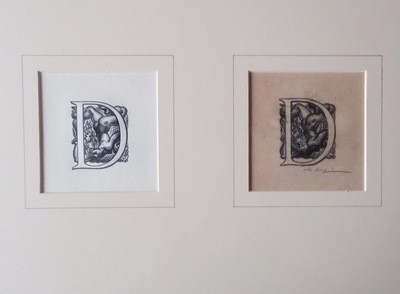 Signed Art Deco Valentine Le Campion Erotic Letter D Drawing Woodcut