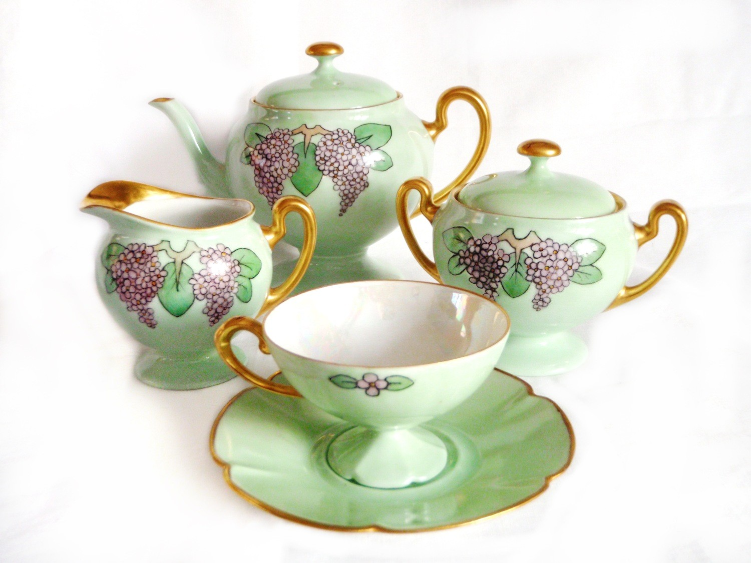 13 pc Art Deco Limoges Porcelain Tea Coffee Set  Hand Painted Sg'd Estelle 1936