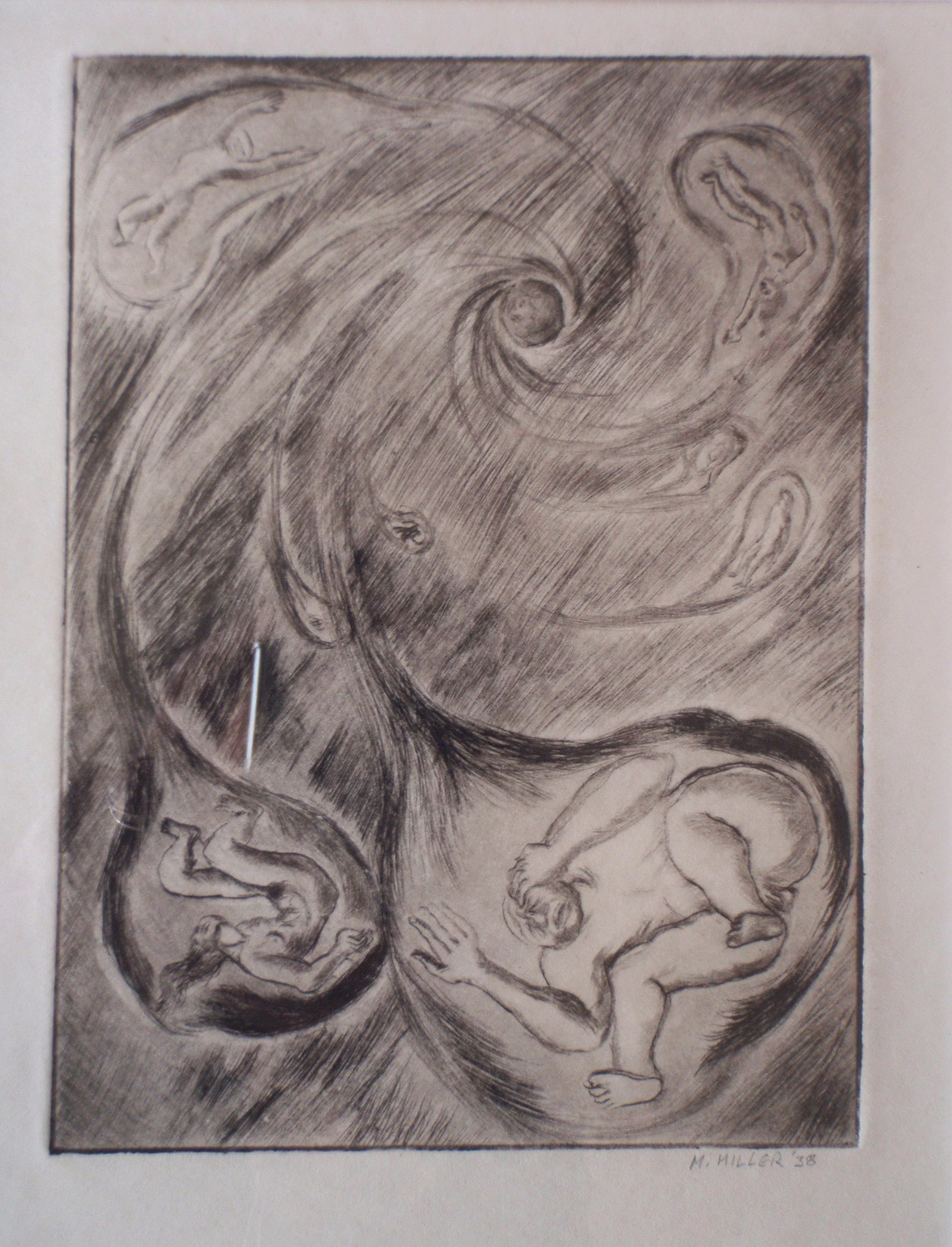 Art Deco Sgd M. Miller 1938 Cosmic Birth of Humanity Framed Etching