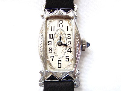 1920's Art Deco Ladies 14k White Gold Sapphire Etched Dial Watch