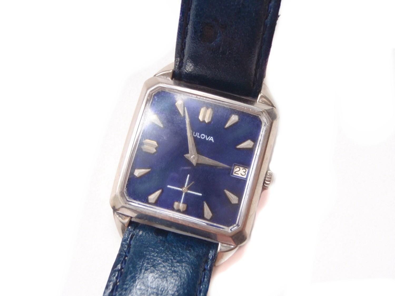 1964 Datejust Bulova Watch Striking Blue Square Dial 10k Gold Plate