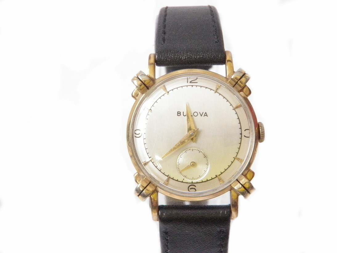 1952 Two-Tone Dial Bulova Watch, Fancy Knotted Lugs
