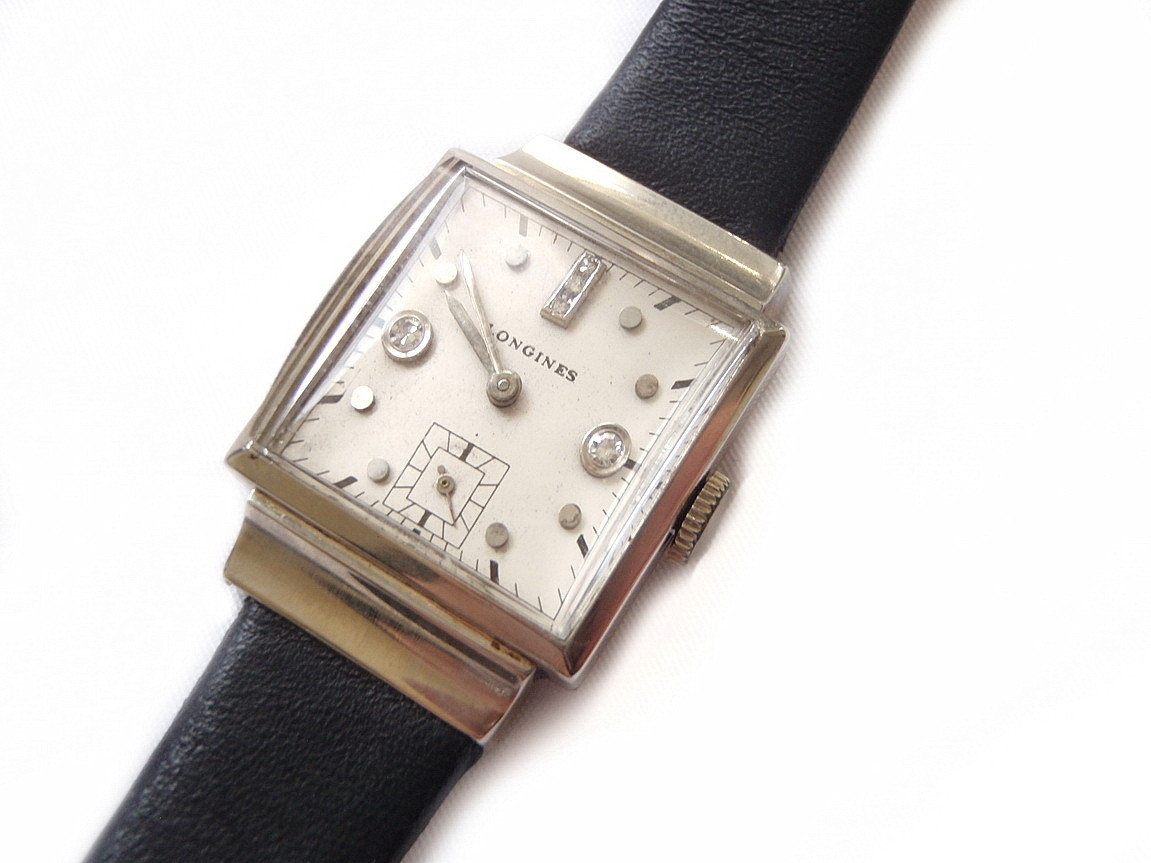 1940's Square Solid 14kt White Gold and Diamond Hour Markers Longines Wristwatch