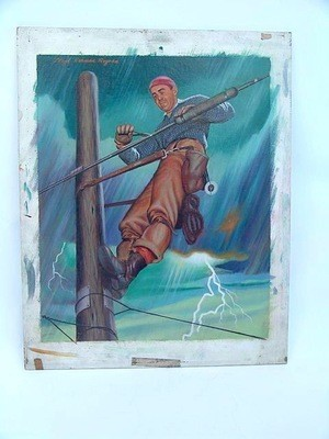 Illustrator Lloyd Rognan Hydro Lineman 50's Oil Painting Illustration